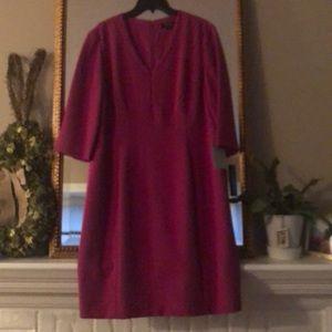 Tahari fuschia dress - 3 q length sleeve dress